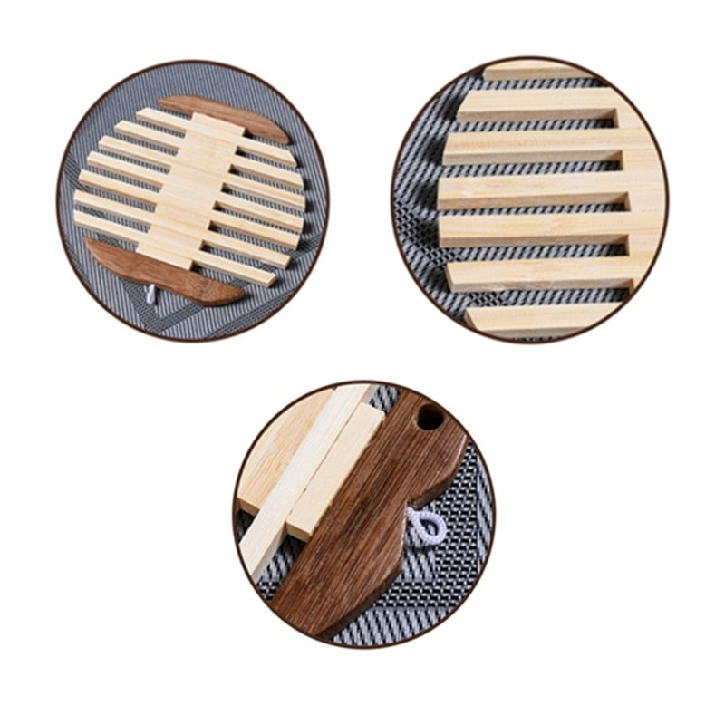 Japanese Wooden Bamboo Fish Apple Shape Table Mat Coaster