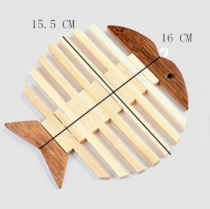 Japanese Wooden Bamboo Table Mat Kitchen Pad Mat Non-slip Insulation Heat Holder Coasters Stand Hot Mats Apple Fish Shaped set Japan Dining Room Tableware Size Information