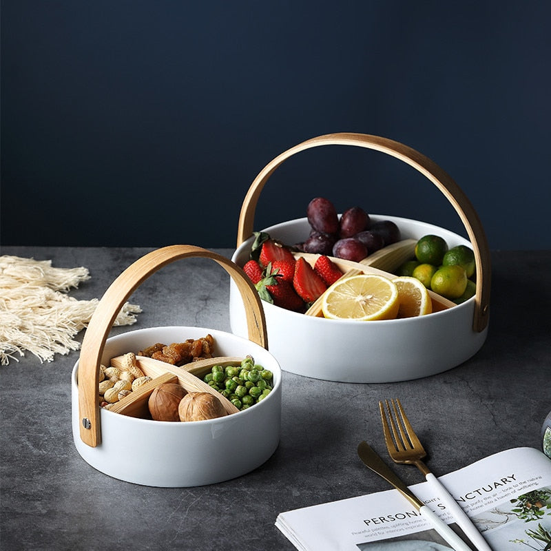 Japanese Ceramic Food Basket    Japanese White Ceramic Plates, Partition Tray with Wood Handle for Snacks Nuts Candy Boxes Dry Fruit Baskets, Storage Japan Tableware