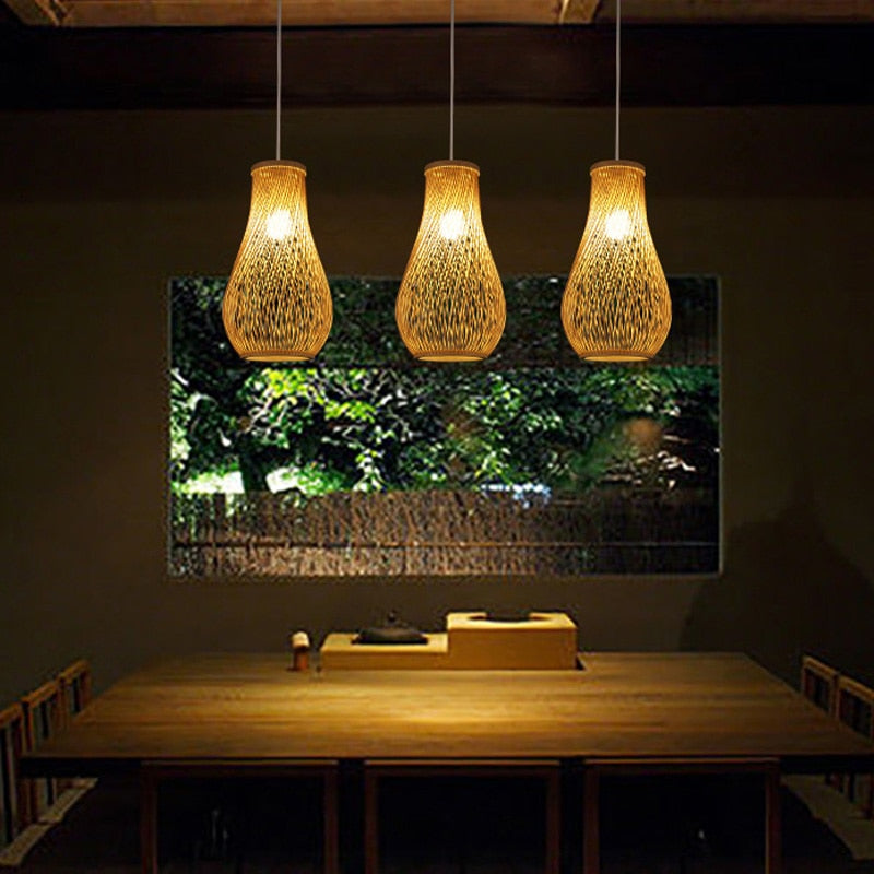 Creative Japanese bamboo pendant lights restaurant bar lamp personality tea room lamp garden wind hand-woven lamp Japan Home Decor Lighting Fixtures Accessories