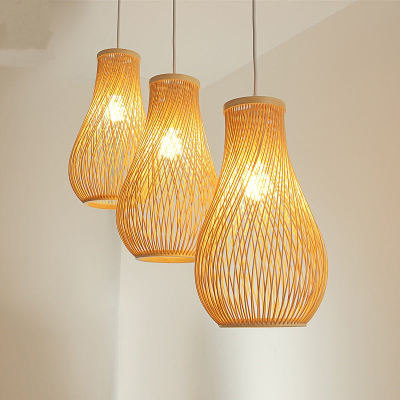 Trendy Creative Japanese bamboo pendant lights restaurant bar lamp personality tea room lamp garden wind hand-woven lamp Japan Home Decor Lighting Fixtures Accessories