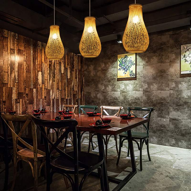 Trend Creative Japanese bamboo pendant lights restaurant bar lamp personality tea room lamp garden wind hand-woven lamp Japan Home Decor Lighting Fixtures Accessories