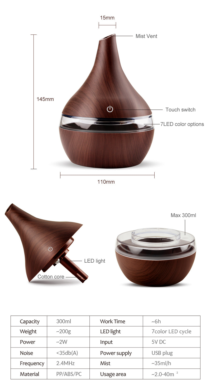 300ML USB Electric Aroma Air Diffuser Wood Ultrasonic Air Humidifier Essential Oil Aromatherapy Cool Mist Maker Air Purification Purifiers For Home Decor Accessories Size Chart