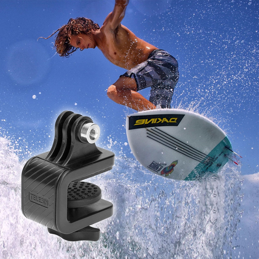 Black Surfboard Skateboard Camera Stabilizer Bracket Mount Holder Stand Clip Clamp for SJCam GoPro Hero 7/6/5/4/3+ for Xiaomi YI 4k