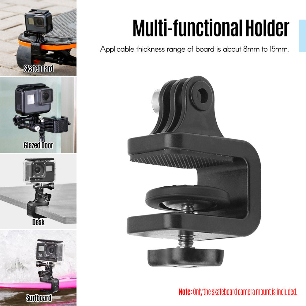 Black Surfboard Skateboard Camera Stabilizer Bracket Mount Holder Stand Clip Clamp for SJCam GoPro Hero 7/6/5/4/3+ for Xiaomi YI 4k Street Sport Detail