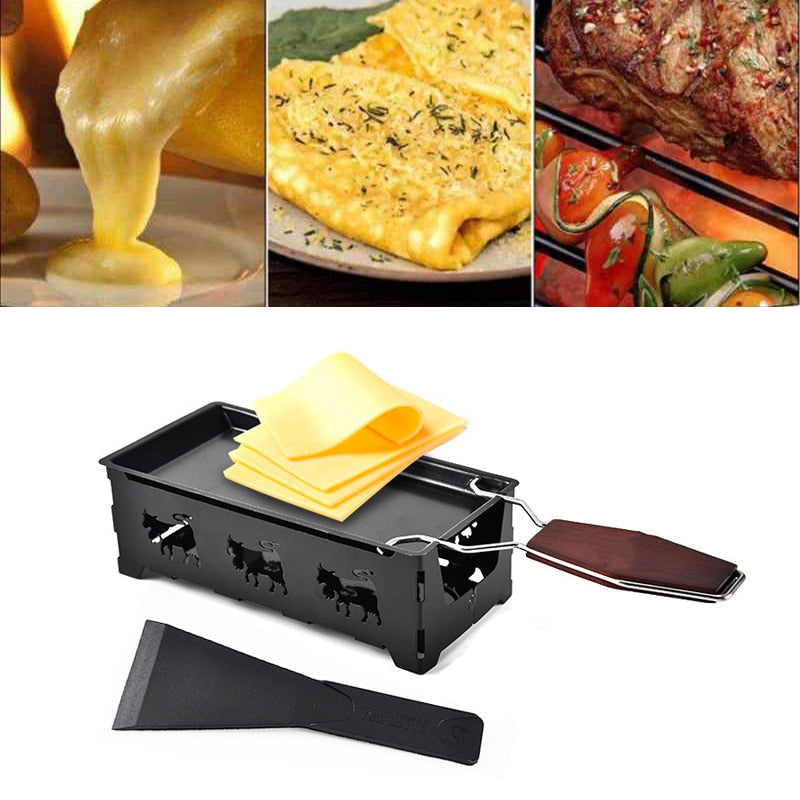Grill Cheese Raclette Set Non-stick Griller Mini BBQ Cheese Board Baked Cheese Oven Iron Swiss Cheese Melter Pan Tray Detail