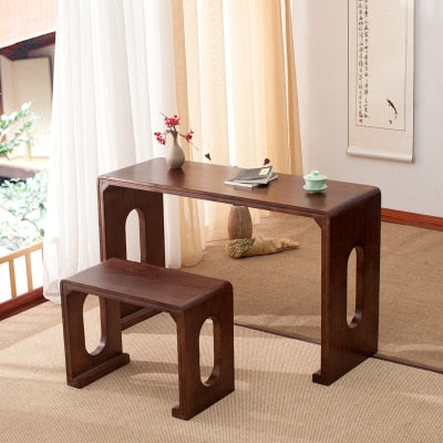 Japanese Wooden Piano Table Stool Set Rectangle Asian Antique Furniture Living Room Oriental Japan Wood Tea Coffee Table Design