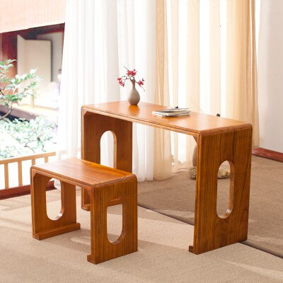 Trendy Japanese Wooden Piano Table Stool Set Rectangle Asian Antique Furniture Living Room Oriental Japan Wood Tea Coffee Table Design