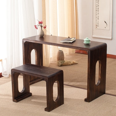 Trend Japanese Wooden Piano Table Stool Set Rectangle Asian Antique Furniture Living Room Oriental Japan Wood Tea Coffee Table Design