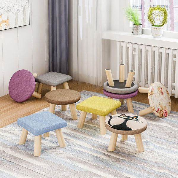 fabrics and wood leg mushroom shoe stool kid baby seater portable fishing stool living room furniture children adult ottoman Kids Bedroom Living Room Furniture Home Decor Accessories Child Stool