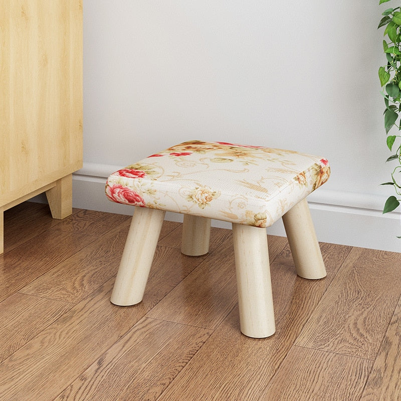 Floral Pattern fabrics and wood leg mushroom shoe stool kid baby seater portable fishing stool living room furniture children adult ottoman Kids Bedroom Living Room Furniture Home Decor Accessories Child Stool