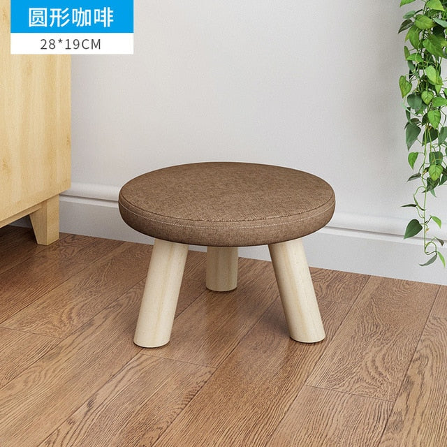 Brown Round fabrics and wood leg mushroom shoe stool kid baby seater portable fishing stool living room furniture children adult ottoman Kids Bedroom Living Room Furniture Home Decor Accessories Child Stool