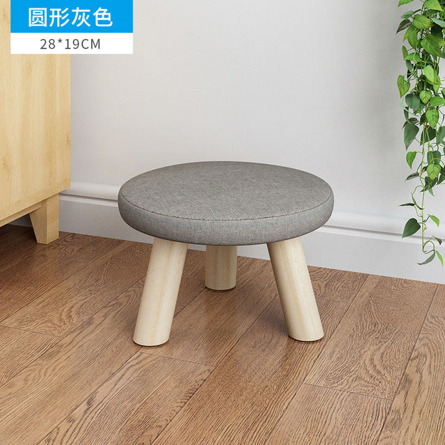 Gray / Grey fabrics and wood leg mushroom shoe stool kid baby seater portable fishing stool living room furniture children adult ottoman Kids Bedroom Living Room Furniture Home Decor Accessories Child Stool