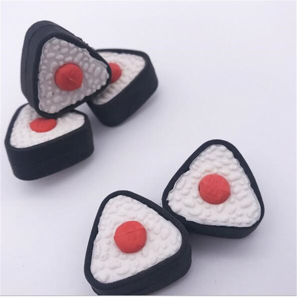 2 Piece Triangle Sushi Styling Rubber Eraser Detachable Japanese Anime Cute Cartoon Rubber Student Stationery For School Kid Adult Japan Kawaii