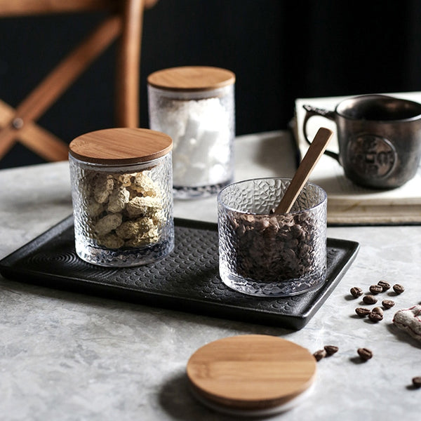 Home Kitchen Glass Sealed Jars Bamboo And Wood Cover Tea Cans Snacks Storage Jar Of Coffee Beans Storage Tank