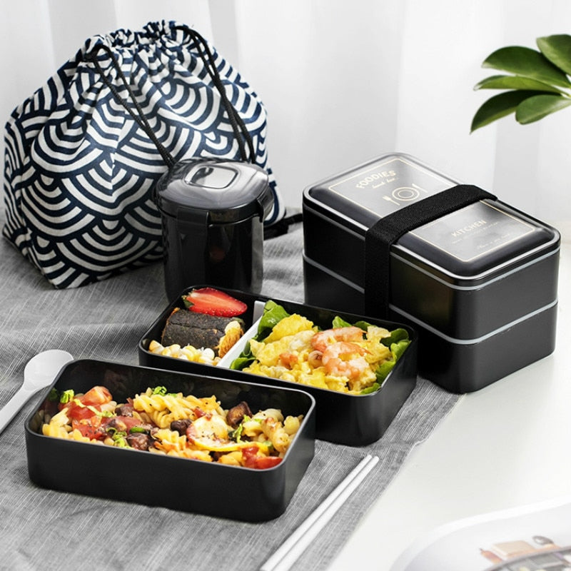 1200ML Japanese Bento Lunch Box Set double-layer Portable Bento boxes Food container with compartments Leakproof Microwavable BPA free Japan Dining Sets