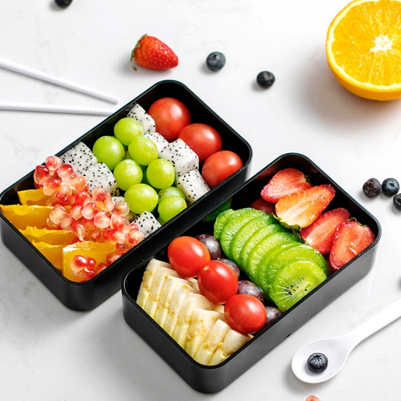 Trendy 1200ML Japanese Bento Lunch Box Set double-layer Portable Bento boxes Food container with compartments Leakproof Microwavable BPA free Japan Dining Sets