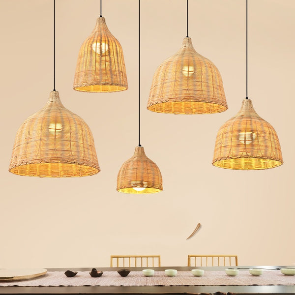 Japanese Rural Style Handmade Rattan Weaving Pendant Lights Dining Room Hanglamp Home Decor Bamboo Loft Led Hanging Lamps Restaurant Cafe Japan Lighting Fixtures Accessories