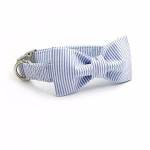 Blue Stripped Bow Tie Cat Collar