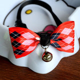 Plaid Bow Tie Adjustable Collar - Catari Cats