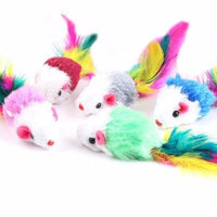 10 pack - Fake Mice With Feathers Cat Toy - Catari Cats