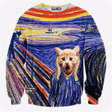 Alisister new fashion men/women's cat Pizza sweatshirt winter/autumn print funny galaxy sweatshirt 3d harajuku hoodies free ship