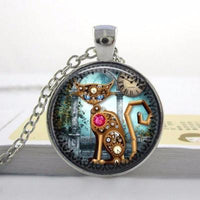 Vintage Clock Cat Necklace - Catari Cats