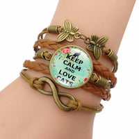 """Keep Calm and Love Cats"" Leather Charm Infinity Bracelet - Catari Cats"