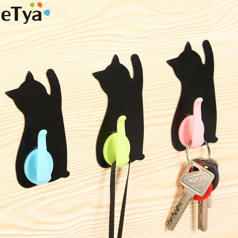 Unique Cute Cartoon Cat Nail Non-trace Hook Stick Kitchen Bathroom Wall Hooks Behind The Door Hook