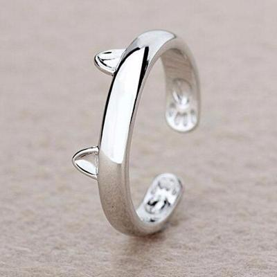 Silver Plated Cat Ear Ring - Catari Cats