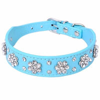 Rhinestone Flower Adjustable Leather Collar - Catari Cats