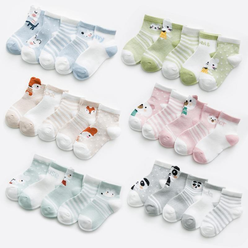 Five (5) Pairs Cotton Mesh Infant Baby Socks - Soft, Cute and Adorable