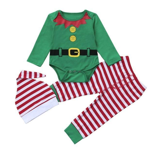 Christmas Newborn Baby | Long Sleeve Romper+Striped Outfits Set (3 Pieces) - Up & Raise® - Best Fetal Doppler and Baby Products