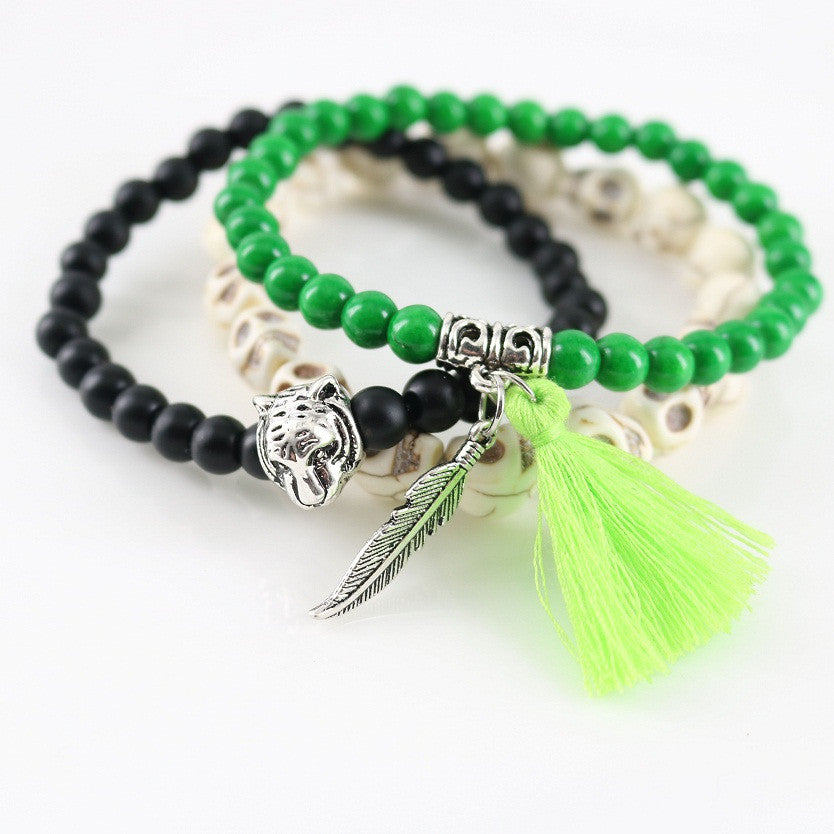 Tiger & Green Leaf Bracelet Set of 3