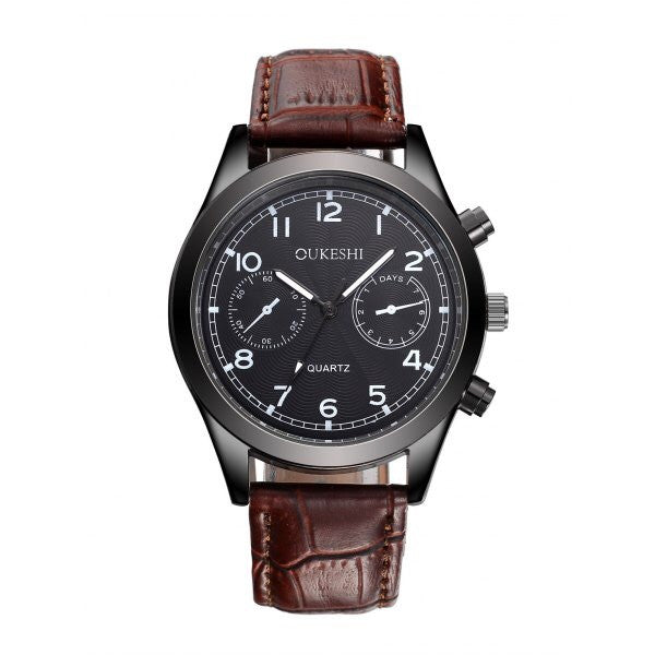 Classic Men's Leather Strap Watch Black or Brown
