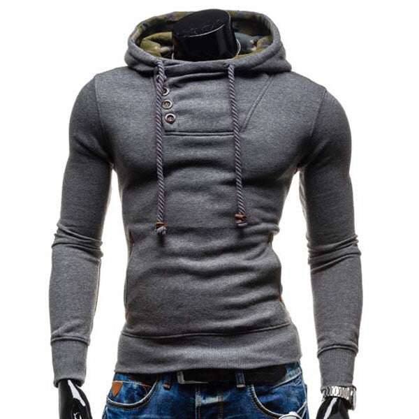 Slimming Long Sleeve Cotton Blend Hoodie - Back Patch