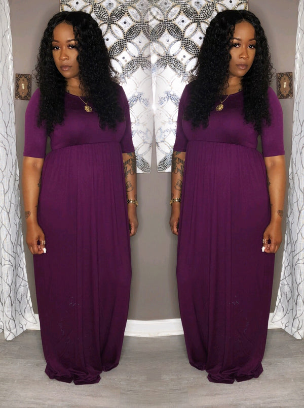 """Growing & Glowing Mid-Sleeve Dress"" 