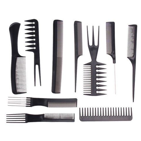 10 Black Plastic Hair Styling Combs Set