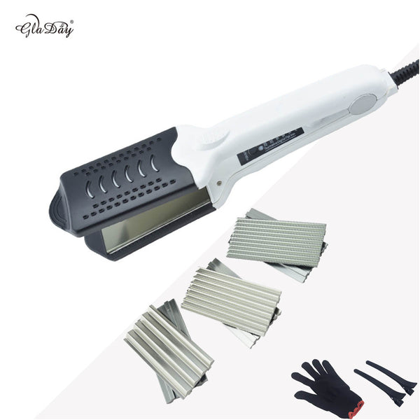 GlaDay Multifunctional Titanium Hair Straightener/Crimper/ZigZag 4 Plates with a Glove