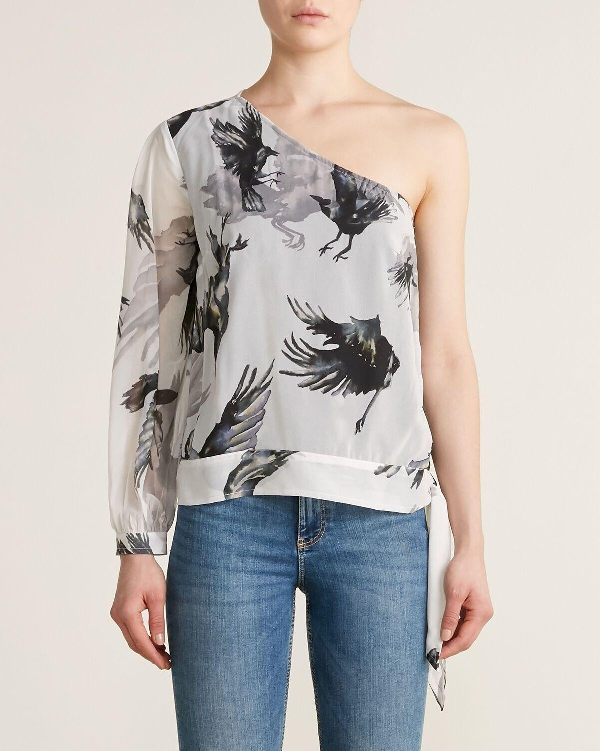 Religion Asymmetrical Chiffon Raven Print Top Large New!-Religion-Your Fashions For Less