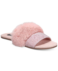 INC Double-Band Faux-Fur Slippers M (7-8)