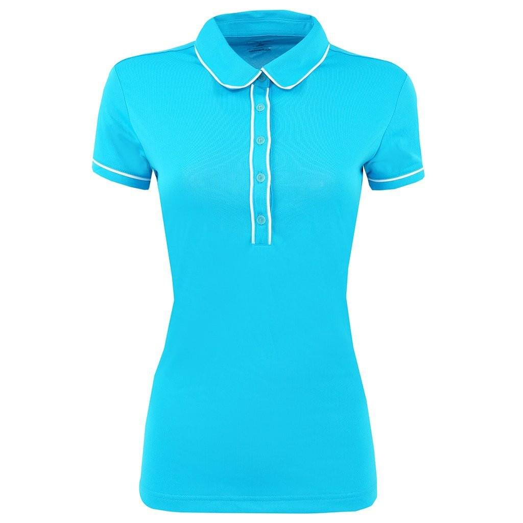 adidas Piped Fashion Polo - Solar Blue Women's 2XL - Your Fashions For Less