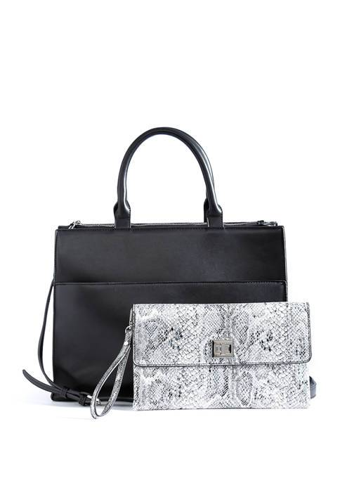 THE LIMITED Turn Lock Tote with Snakeskin Pouch New,your-fashions-for-less,The Limited,Handbags.
