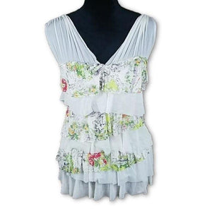Anthropologie Weston Wear Garden Sketch Ruffle Top Medium,your-fashions-for-less,Anthropologie,Tops.