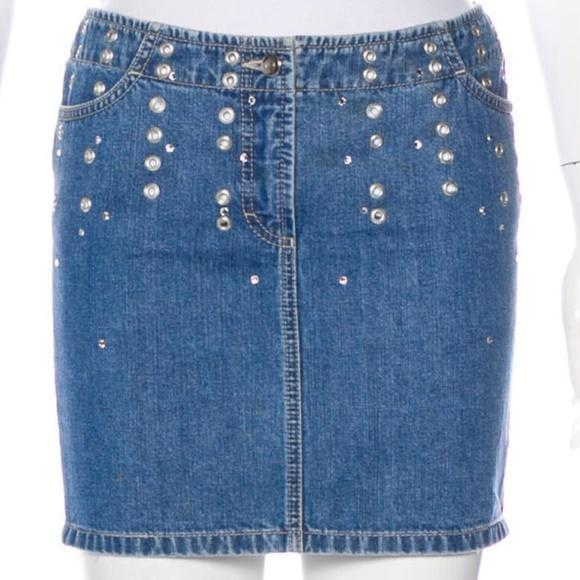 ESCADA Embellished Denim Skirt Size 6 Medium - Your Fashions For Less