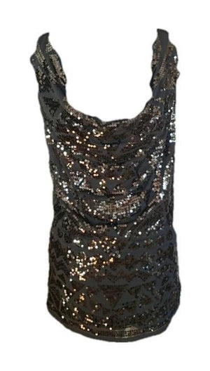 Guess Gorgeous Sequined Black Dress Large Stunning!