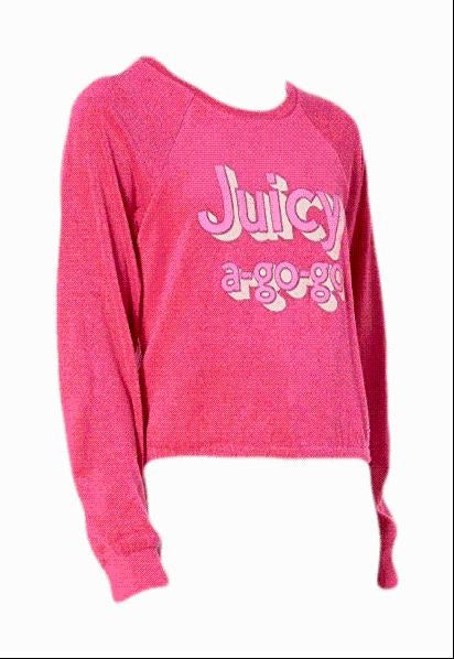 Juicy Couture  Gogo Microterry Logo Pullover Large New,your-fashions-for-less,Juicy Couture,Tops.