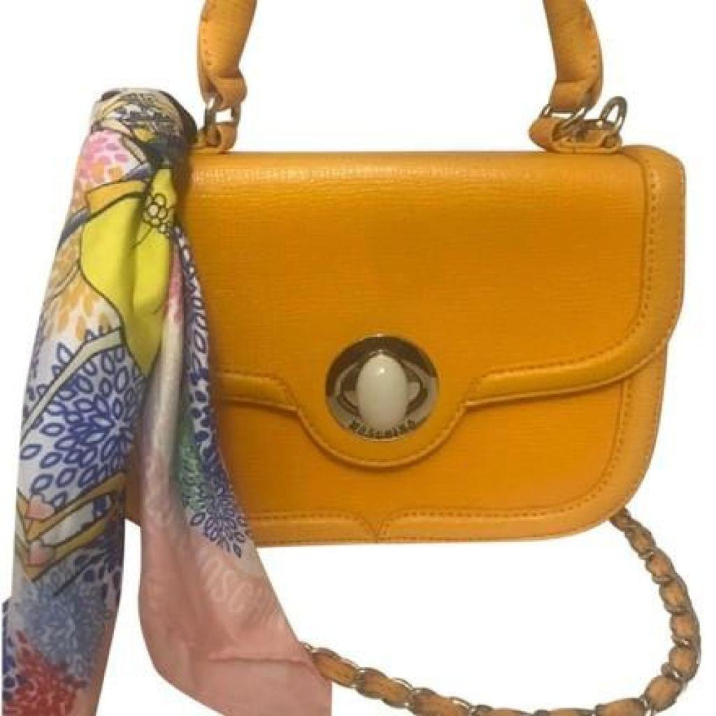 Love Moschino Scarf Orange Satchel,your-fashions-for-less,Love Moschino,Handbags.