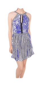 Parker Blue Pleated Embroidered Dress Small - Your Fashions For Less