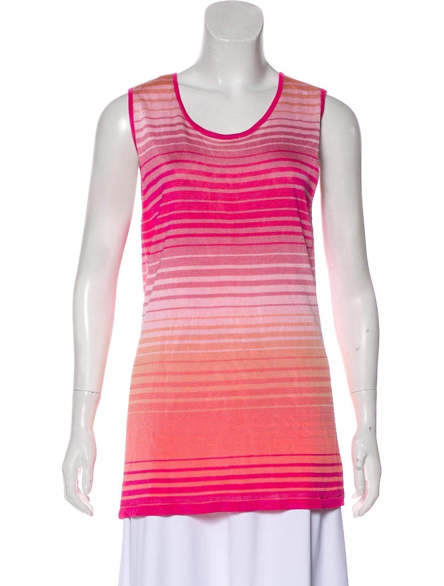 MAGASCHONI Striped Sleeveless Top Large - Your Fashions For Less